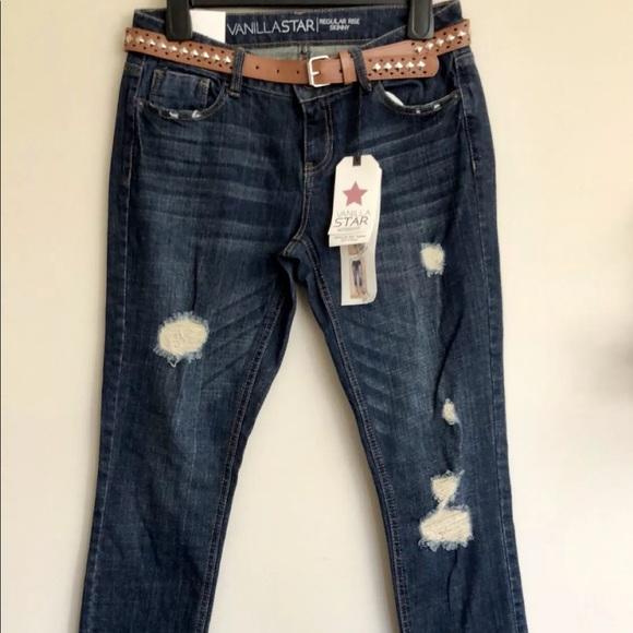 Vanilla Star Mid Rise Distressed Skinny Leg Jeans